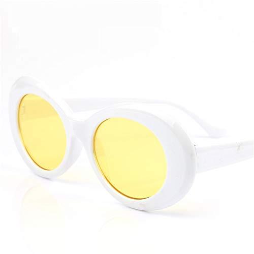 MOJINGYAN Sonnenbrillen,Brillen Brillen Sonnenbrillen Vintage Sonnenbrille Frauen Oval Männer Transparente Abdeckscheiben Eyewear Weiß Gelb