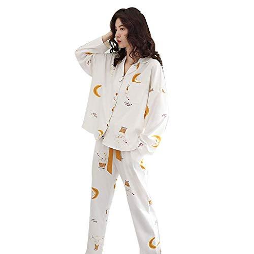 qazxsw Pyjamas für Frauen Pyjamas für Mädchen Langarm-Nachthemden Pyjama-Set mit Pyjama-Shirt und PJ-Hosen Home Clothing