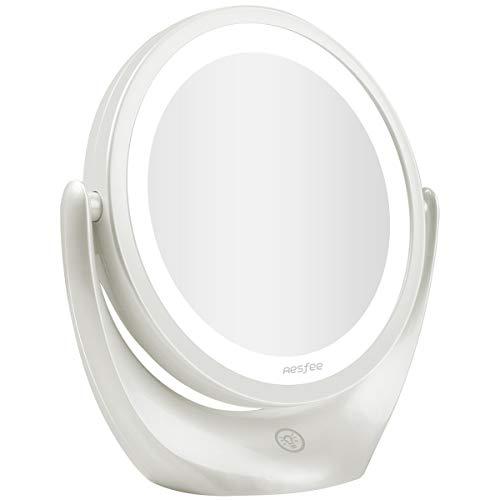 Aesfee Specchio per Trucco a LED 5X ingrandimento, Specchio cosmetico da Viaggio a Doppia Faccia Illuminato con Interruttore Touch dimmerabile, 3 Livelli di luminosità, Rotazione Libera 360 ° Bianco