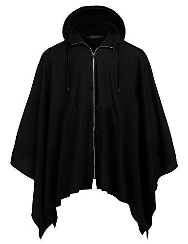 Coofandy Herren-Poncho, Cape mit Kapuze, unregelmäßig geschnittener Mantel, Umhang mit Reißverschluss Gr. Large, Schwarz