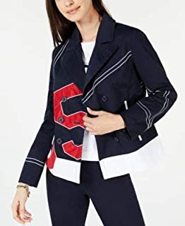 TOMMY HILFIGER Womens Navy Color Block Logo Jacket US Size: XS