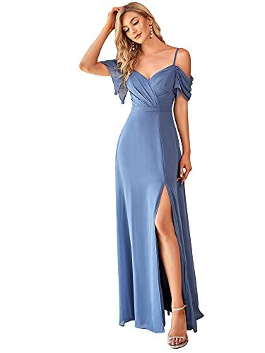 Ever-Pretty Vestido de Fiesta Abertura Largo para Mujer Fuera del Hombro A-línea Hoja de Loto Gasa Elegantes Armada Polvorienta 36