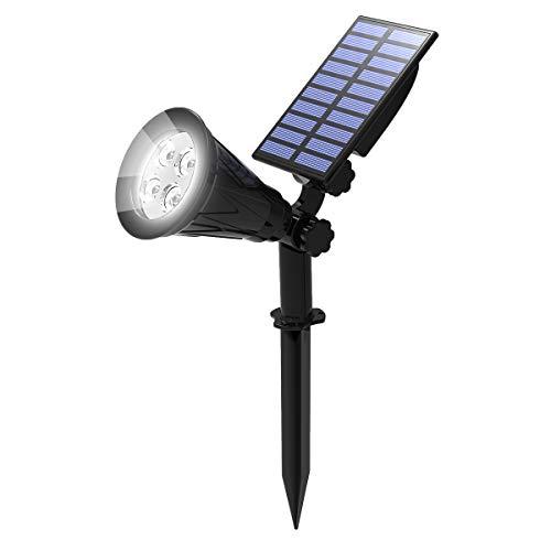 T-SUN Foco Solar, Impermeable Luces Solares Exterior, Luz de Jardín, 2 Modos de Iluminación Opcionales, ángulo de 180° Ajustable, Luz de Proyecto Solar para Jardín, Entrada, Camino. (6000K)