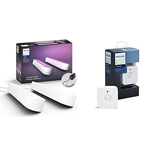 Philips HuePhilips Lighting Hue Play Lampada LED Connessa, Unità Base con Alimentatore, 2 Pezzi, Bianco & Hue Sensore di Movimento per Accensione e Spegnimento Lampadine, Batterie Incluse