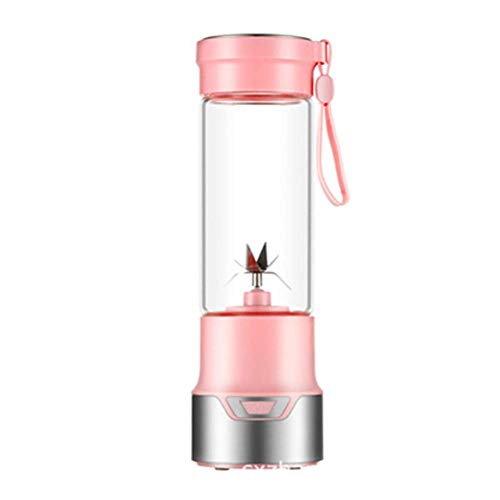 ZLJ Mini USB Juicer Personal Cup Handheld Rechargeable Electric Juice Blender and Mixer 350ml 6 Blades Fruit Mixing Machine with USB Charger Pink