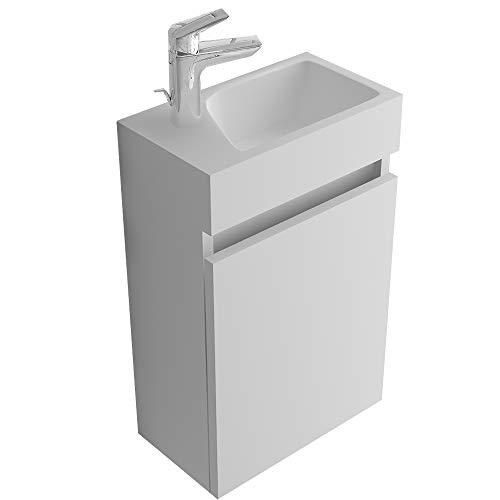 bad1a Alpenberger Badezimmermöbel-Set Handwaschbecken aus hochwertigem Mineralguss inkl. Waschbeckenunterschrank 40 cm mit SoftClose Weiß | Elegante&Platzsparende Einrichtungslösung