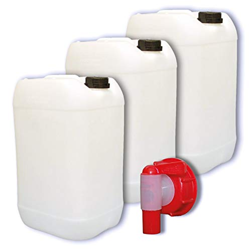 plasteo 3 x 25 Liter Getränke- Wasserkanister Natur | mit 1 Hahn und 3 Schraubdeckel (DIN 61) | Lebensmittelecht | Tragbar | Indoor und Outdoor | BPA Frei
