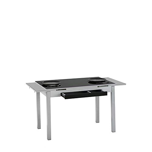 fanmuebles - Mesa de Cocina Cristal Negro Extensible Andrea - 110 x 70 cm.