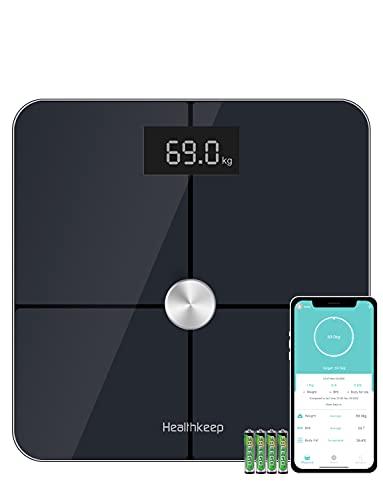 Körperfettwaage Digital Personenwaagen, ITO Waage mit Körperfettanalyse, Smart Waage für Körperfett, Muskelmasse, Mit APP für iOS und Android, Grössere Wiegefläche, Gehärtetes Glas, Bis 180kg, Schwarz