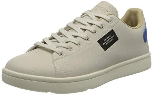 Superdry Mens Vintage Tennis Trainer Sneaker, Off White/Cobalt,44 EU