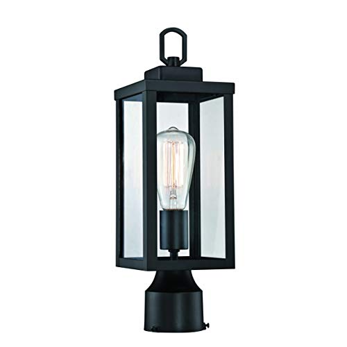Gruenlich Outdoor Post Lighting Fixture with One E26 Medium Base Max 100W, Metal Housing Plus Glass, Matte Black Finish, Bulb Not Included
