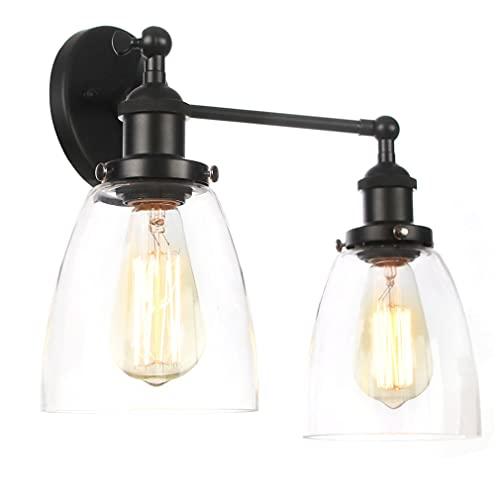 LTongx Luces de Pared industriales 2 Luces de Pared Interior Aplicaciones de la Pared de la Vendimia Lámparas de la Pared de la Vendimia Funnel Lámparas de Pared de Loft de la Sombra de Vidrio