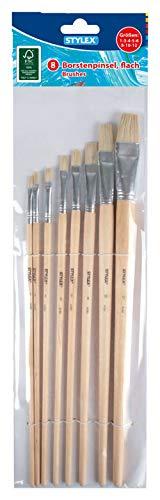 Stylex 28682 - Pinsel-Set mit 8 flachen Borstenpinseln in den Größen 1, 3, 4, 5, 6, 8, 10 und 12, zum Malen mit Deck-, Tempera, Aquarell-, Öl- und Acrylfarben, ideal auch für die Schule