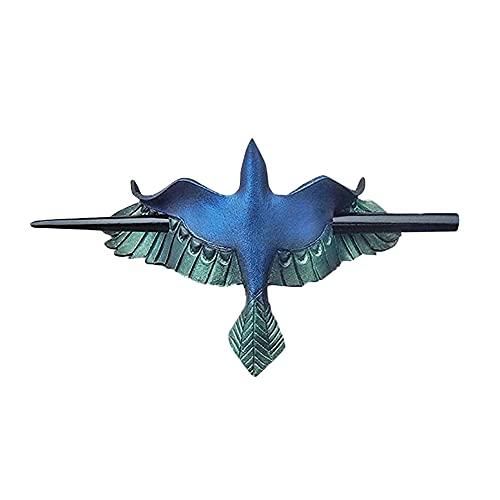 Fuaensm Épingle à cheveux Mystérieuse avec motif d'oiseaux et de feuilles d'imitation os - Accessoire de déguisement pour femme à cheveux longs, b,