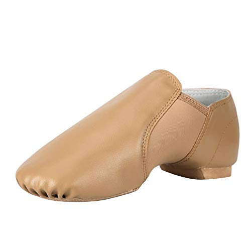 Linodes Unisex 006 PU Leather Upper Slip-on Jazz Shoe for Women and Men's Dance Shoes-Brown 5M