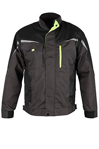 Prisma® - Herren Multifunktionale Arbeitsjacke Bundjacke - reflektierende Streifen - Enge Passform - Grau/Schwarz/Grün 50