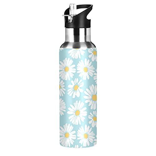 Daisy Flower Cornflower Sunflower Sport Water Bottle with Straw Lid Leakproof...