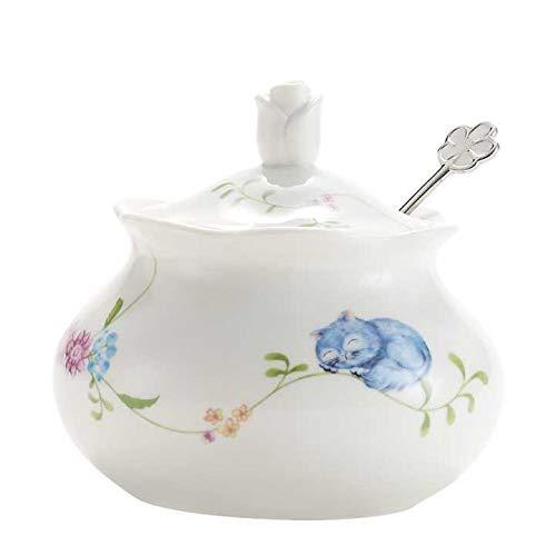 Azucarero de cerámica con tapa y cuchara de acero inoxidable para el hogar y la cocina, diseño de flores, color blanco