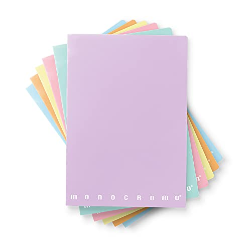Pigna Monocromo Pastel, Quaderno formato A4 Punto Metallico, Rigatura 1R, righe per medie e superiori, Carta 80g/mq, Pacco da 10 Pezzi, 02298901R