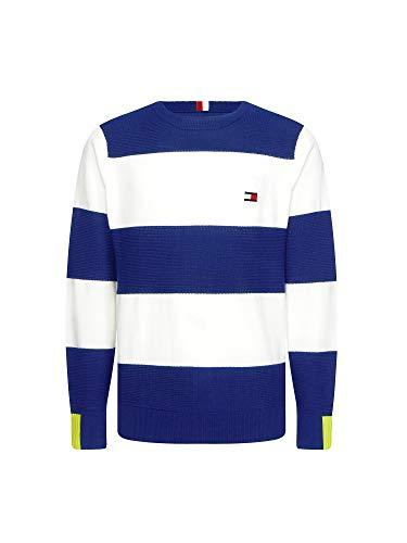 Tommy Hilfiger Herren Neon Tipped Striped Sweater Sweatshirt, Blau, Medium (Herstellergröße:)