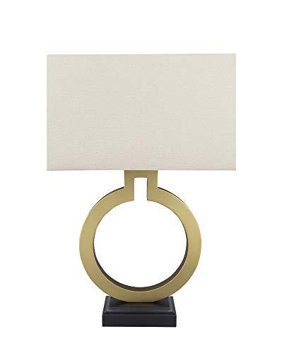 "Aspen Creative, Gold 40202-11, 27"" High Transitional Metal Table Hardback Rectangular Shaped Lamp Shade in Khaki, 16"" Wide"