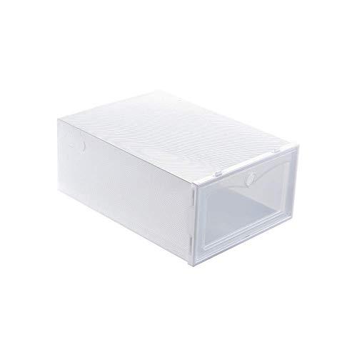 Shoe Box Flip-Open deksel Transparante Stackable Storage Box Schoenen Drawer Case Organizer, Blue S dljyy (Color : White S)
