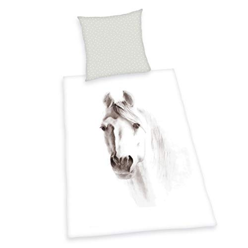 Herding Young Collection Set di Biancheria da Letto, Cotton, Bianco, 80 x 80 cm, 135 x 200 cm