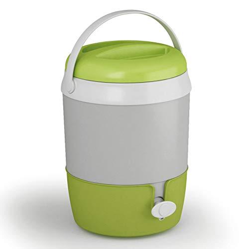 Wasserspender 6L mit Zapfhahn und Ständer - Tragegriff - GRAU/GRÜN - aus Kunststoff Plastik - Getränkespender Wasserbehälter Wasserkanister - Thermobehälter Kühlbehälter für Camping Garten Draußen