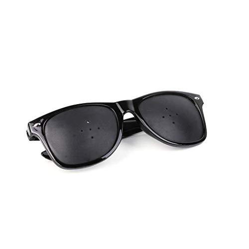 HJRD Rasterbrille,Vision Enhanced 5-Loch-Brille Verbessert Brillen, Black Wraparound Hybrid Eye Sicherheit Anti-Fatigue-Brille Sicherheit Swap Fashion Retro Trend Dekorative Spiegel