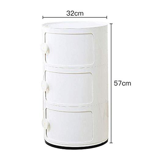 Kutera Nachttische Laptoptisch Beistelltisch Schreibtischende Nachttisch Snack Runde Nachttisch Kunststoffspind Haushaltsecke Couchtisch-57 Weiß