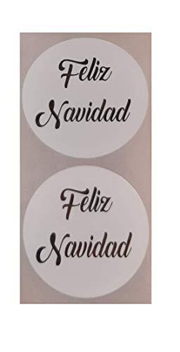 200 Etiquetas Feliz Navidad Blanca impresa en Plata para tu comercio