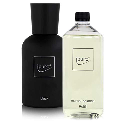 Ipuro Flakon Black - inklusive 5 Fasersticks & Mental Balance Duftöl 1 Liter