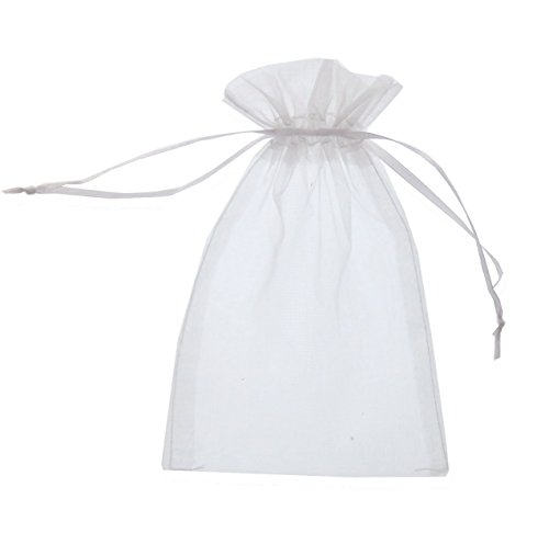 SumDirect 100Pcs 5x7 inch White Sheer Drawstring Organza Jewelry Pouches Wedding Party Christmas Favor Gift Bags