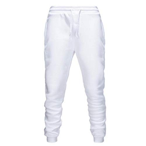 Pantalones de los Pantalones de Deportes de los Hombres Que activan los Pantalones Deportivos Pantalones Monos otoño e Invierno Ocasional Blanca XXL