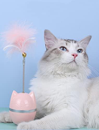 RiRi 猫おもちゃ 猫じゃらし 猫バランススイングカー だるま 知育玩具 倒れない だるまボール 遊び道具 ボール 運動不足改善 ストレス解消安全素材 (ピンク)