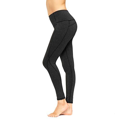 HMIYA Sporthose Damen, Sport Leggings Blickdicht Fitnesshose Tights Yoga Hose mit Taschen(Grauschwarz,L)