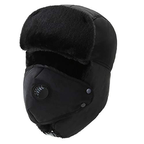 CUCUDAI Chapéu masculino e feminino de inverno quente para ciclismo ao ar livre com forro de pelúcia russo para neve e esqui Ushanka com abas de orelha, máscara de rosto preta