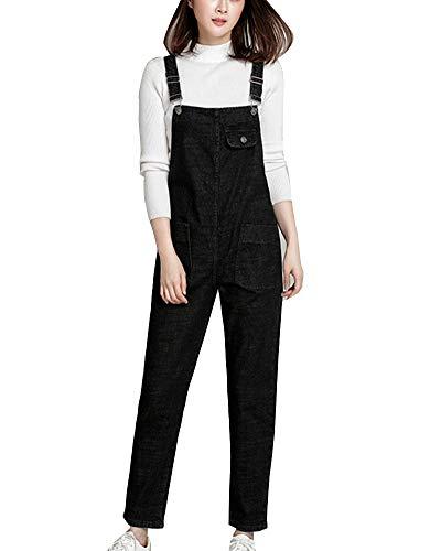 Damen Jeans Overall Mit Hosenträgern Jeanshose Latzhose Denim Schwarz 6XL