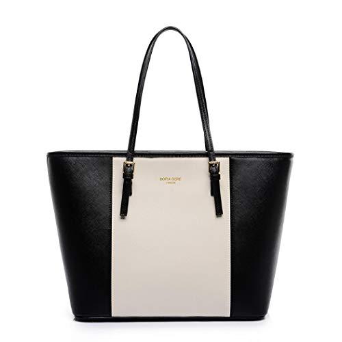 Bolsos para mujeres, gran capacidad bolsas de mano de cuero sintético suave con asa superior de trabajo, bolso de hombro bolsa de la bolsa de compras para las señoras, blanco y negro, talla única