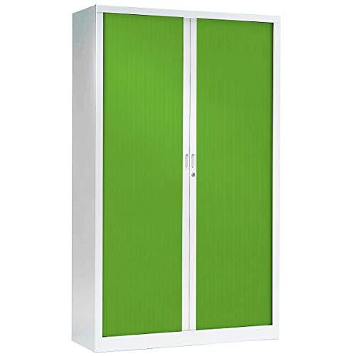 Armoire Monobloc à rideaux | Blanc | Vert | HxLxP 1980 x 1200 x 430 | Certeo
