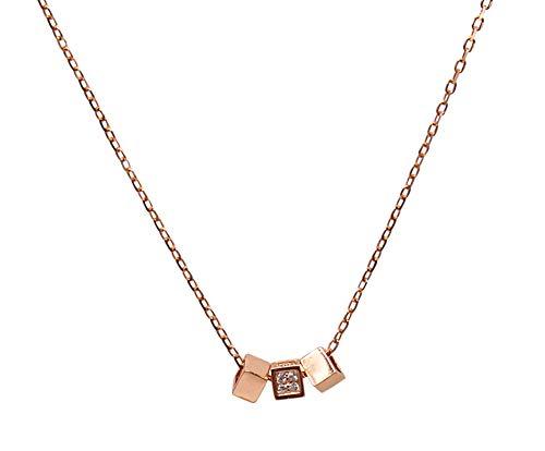 Collar de plata de ley 925 con colgante cúbico y circonita cúbica en oro rosa