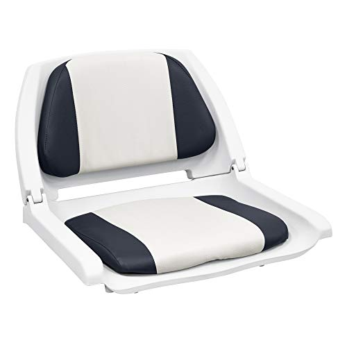 8WD139 Series Molded Fishing Boat Seat with Marine Grade Cushion Pads, White Shell, White/Navy Cushion - Wise 8WD139LS-014
