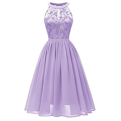 Robe femme élégante robe femme robe femme robe femme robe festive femme dentelle mousseline dos nu grande swing jupe robe de soirée cocktail bal robe robe vintage robe, lilas, L