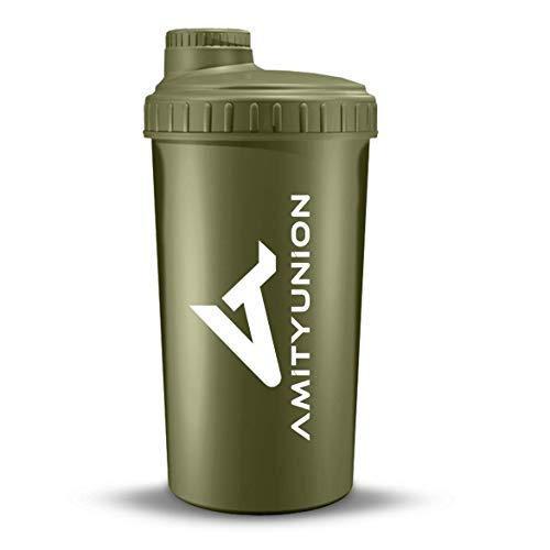 """Protein Shaker 700ml """"Viisi"""" mit Sieb & Skala aus Europa - BPA frei, auslaufsicher für cremige Whey Proteinpulver Shakes, Eiweiß Shaker Protein für Mass Gainer Pulver & BCAA Vegan Drink in Navy Grün"""