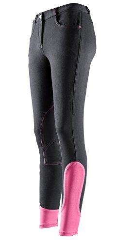 Equi-thème - Pantaloni da equitazione per donna e bambini, Anthracite & Fuchsia, 8 anni