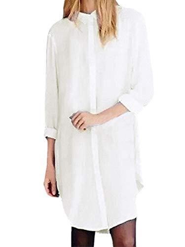 ZANZEA Langarmshirt Damen Oversize Hemd Bluse Casual Button Down Tunika Oberteile Longshirt Knopfleiste Einfarbig Weiß-465891 EU 36