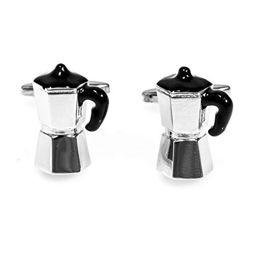 MRCUFF Par de gemelos para cafetera italiana, en caja de regalo y paño de pulido