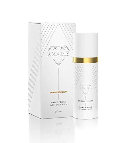 Axame - Crema HIdratante de Noche Prémium Hipoalergénica con Colágeno y Efecto AntiEnvejecimiento Para Combatir las Arrugas 50 ml