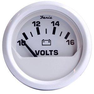 "The Amazing Quality Faria Dress White 2"" Voltmeter (10-16 VDC)"