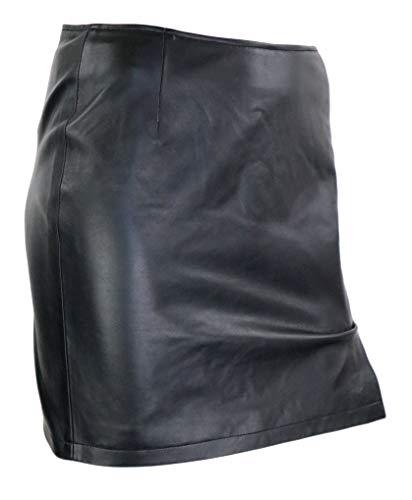 RICANO RIA, Damen Leder Rock aus echtem Lamm Nappa Leder (Glattleder) in schwarz (Schwarz, 2XL)